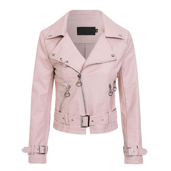 leather zippers basic jacket coat Women long sleeve jkt2