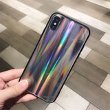 New Bling Rainbow Dot Stripe Holographic Mirror Laser Phone Case For iPhone 6 6S 7 8 Plus X TPU Glass Cover cas1