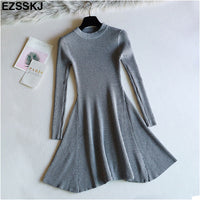 chic Winter black Sweater Dress Women o-neck Long Sleeve A Line thick Knit mini Dress dre1