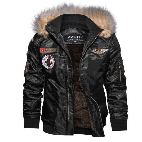 Brand Jacket Men Jackets Male Coat Autumn Winter Casual Long Sleeve Solid Fur Hooded Zipper jacket  jkt1
