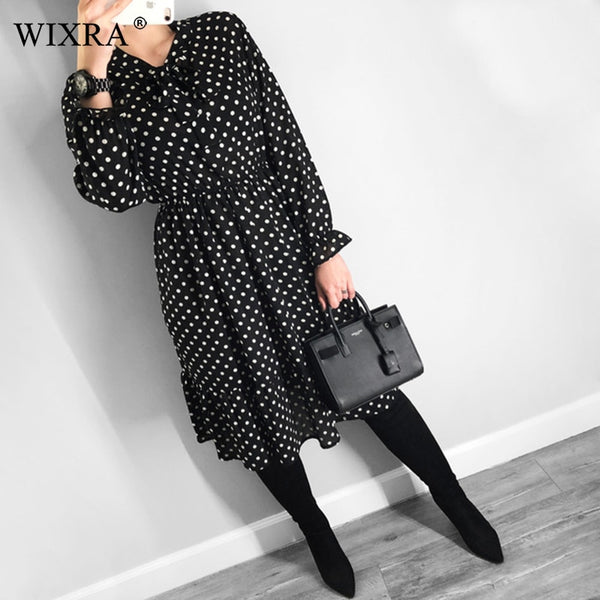 Wixra Chiffon Dress Stand Neck Floral Print Dress Ruffles Long Sleeve Elegant Dresses S-XL For Women Spring Summer