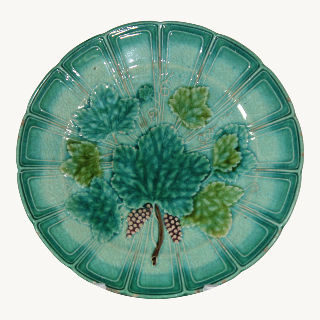 Antique French Sarreguemines Grapes & Leaves Majolica Plate