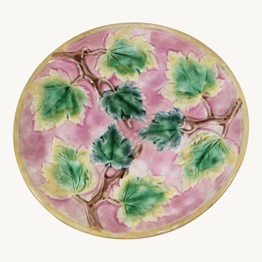 Majolica Etruscan Maple Leaf Footed Cake Plate