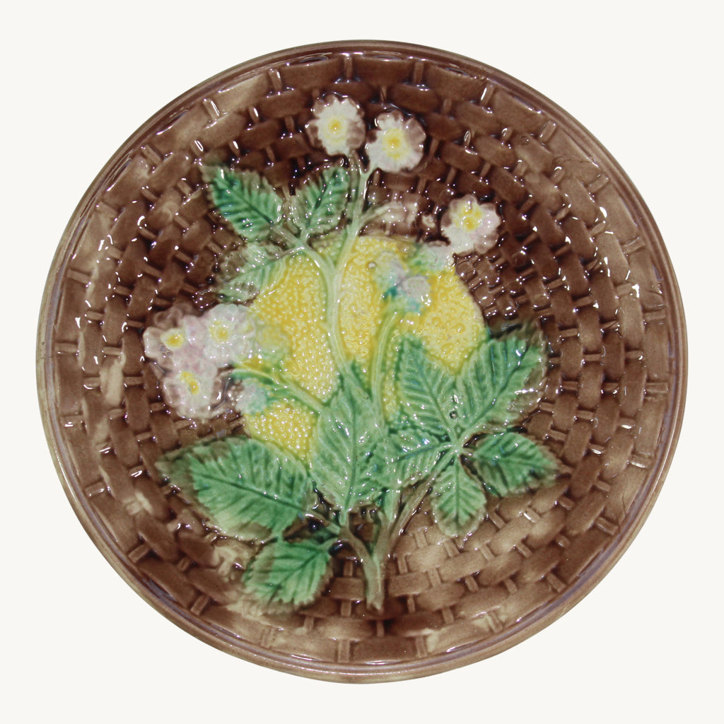 Raspberry on Basketweave Majolica Plate