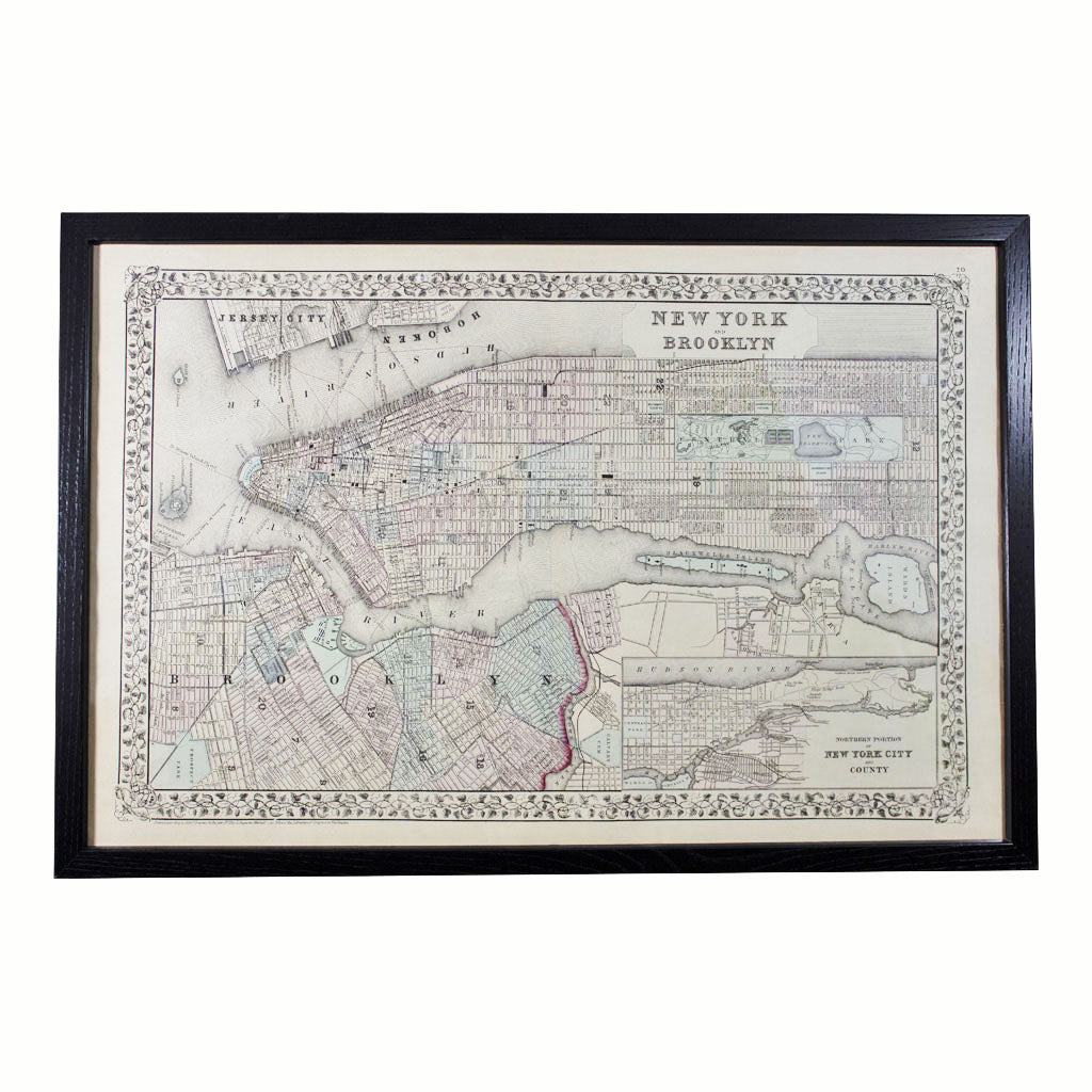 Map of Northern NYC and Brooklyn 1872