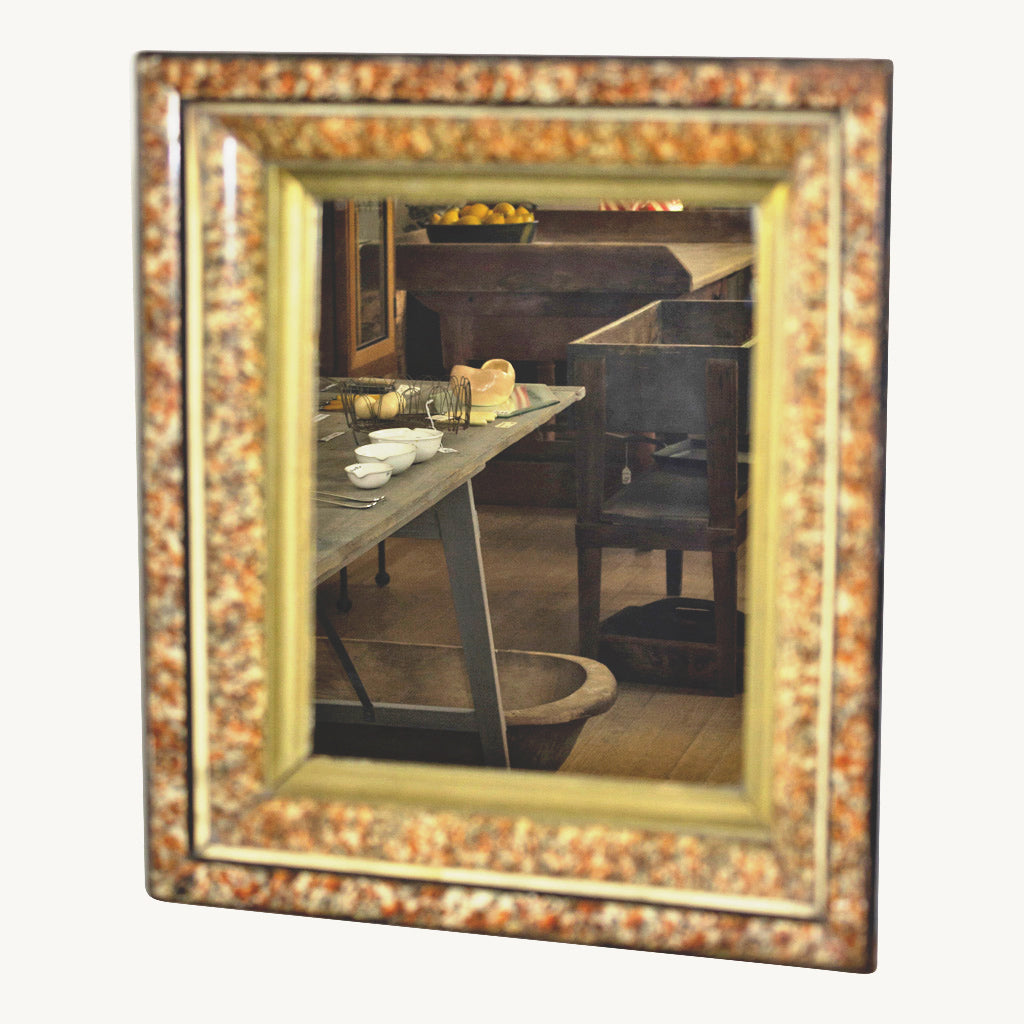 Vintage Faux Painted Tortoise Shell Framed Mirror