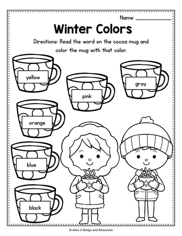 Winter Colors Activity For Preschool