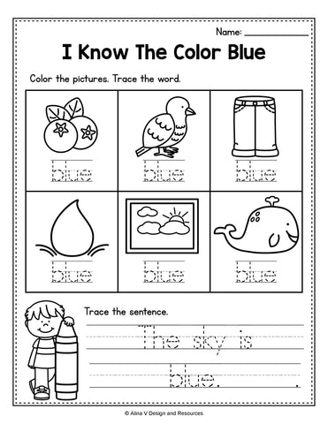 Blue Color Winter Worksheet For Preschool