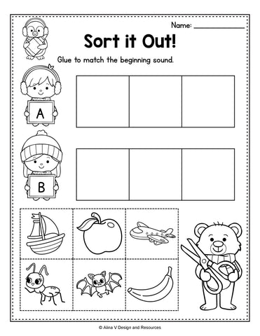 Winter Word Sorting Printable For Preschool