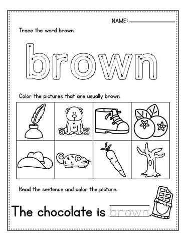 Easter Color Study Worksheet For Preschool