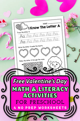 FREE Valentine's Day Worksheets For Preschoolers