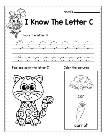 St. Patrick's Day Letter C Practice Worksheet For Preschool