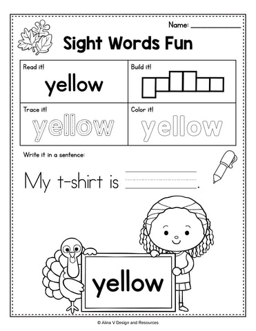 Thanksgivng Sight Words Worksheet Preschool