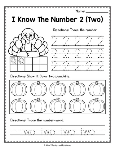 Thanksgiving Number 2 Printable Worksheet