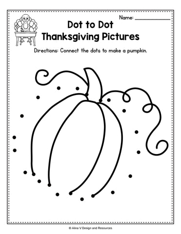 Dot to Dot Thanksgiving Preschool Worksheet