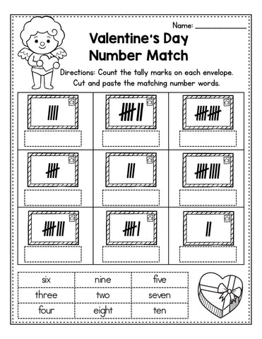 Valentine's Day number match activity for preschoolers
