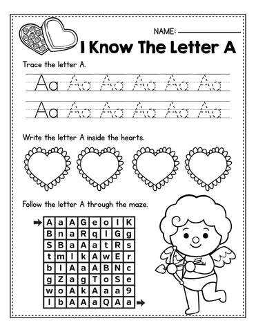 Letter A practice Valentine's Day activity for preschool