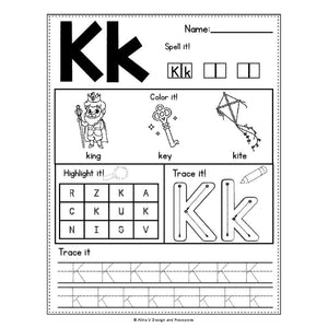 Alphabet Worksheets A-Z - Beginning Sounds Practice - INSTANT DOWNLOAD