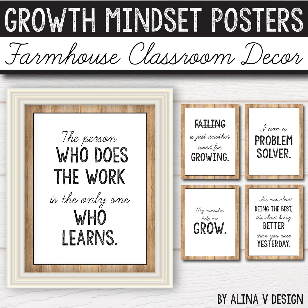 Modern Farmhouse Classroom Decor Growth Mindset Posters INSTANT DOWNLOAD