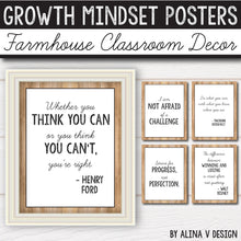 Load image into Gallery viewer, Modern Farmhouse Classroom Decor Growth Mindset Posters INSTANT DOWNLOAD
