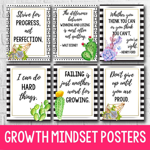 Growth Mindset Posters - Succulent Decor INSTANT DOWNLOAD