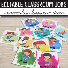 Load image into Gallery viewer, Classroom Jobs Editable - Watercolor INSTANT DOWNLOAD