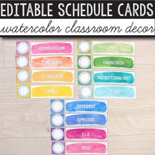 Load image into Gallery viewer, Daily Schedule Cards EDITABLE - Watercolor INSTANT DOWNLOAD