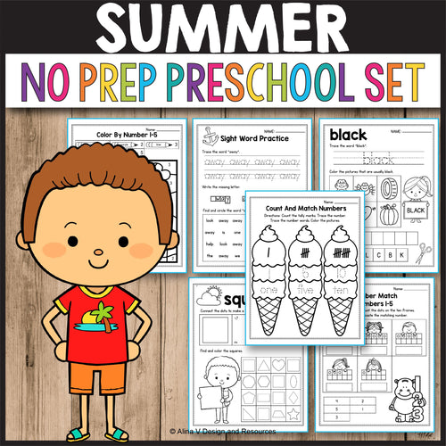 Summer Activities for Preschool, Summer Math Worksheets