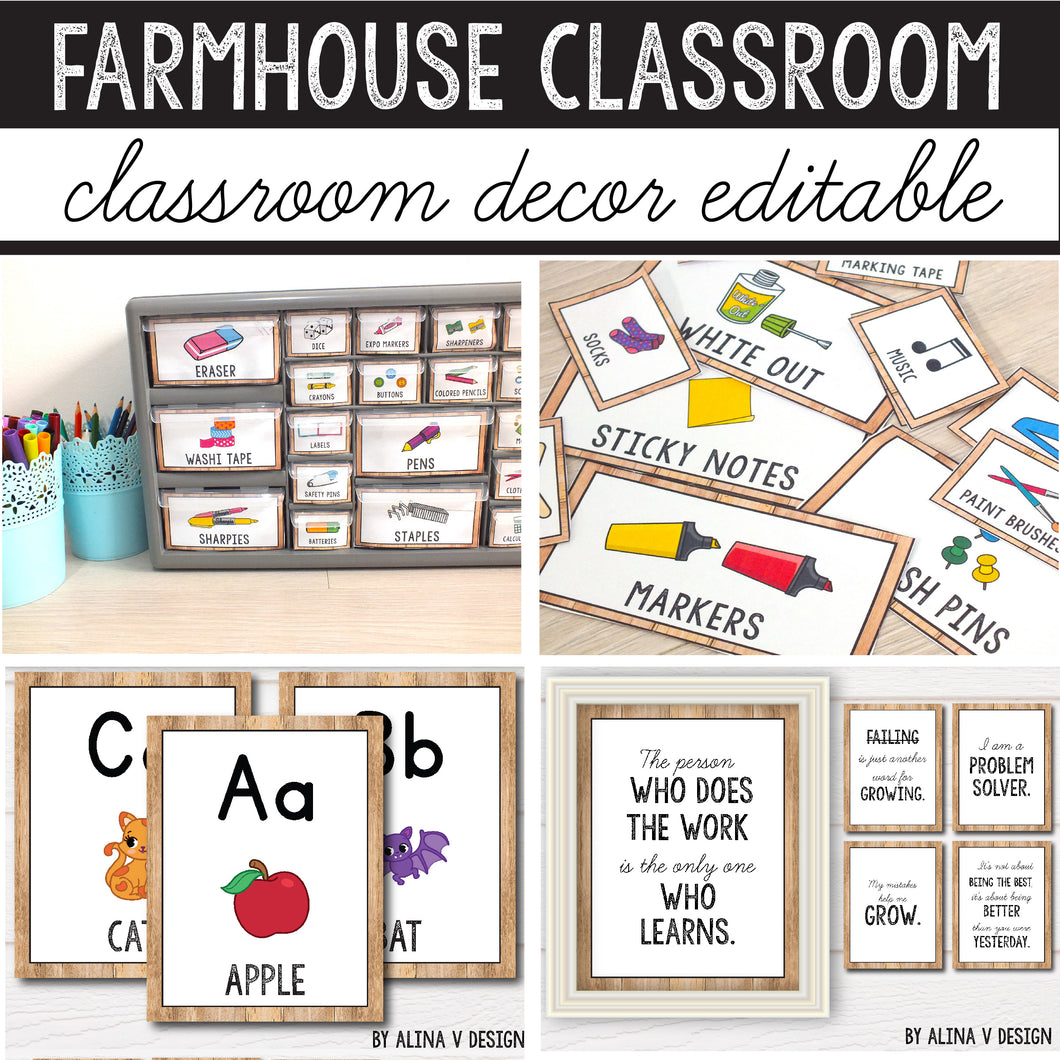 Modern Farmhouse Classroom Decor Bundle INSTANT DOWNLOAD