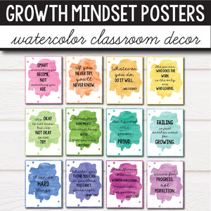 Growth Mindset Posters - Watercolor Decor INSTANT DOWNLOAD