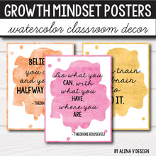 Load image into Gallery viewer, Growth Mindset Posters - Watercolor Decor INSTANT DOWNLOAD