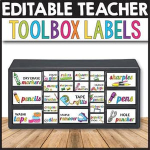 Teacher Toolbox Labels Editable - INSTANT DOWNLOAD