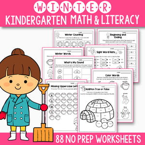 Winter  Activities Kindergarten - Winter Math Worksheets and Literacy No Prep