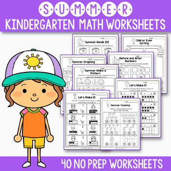Summer Math Worksheet, End of Year Activities Math, Summer Packet Kindergarten