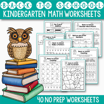 Back to School Activities Kindergarten, Back to School Math Activities