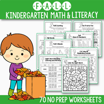 Fall Math and Literacy BUNDLE, Fall Activities For Kindergarten