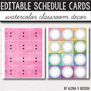 Daily Schedule Cards EDITABLE - Watercolor INSTANT DOWNLOAD
