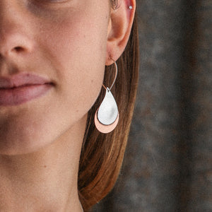 Sterling Silver & Copper Mully Raindrop Earrings