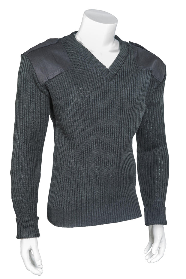V-Neck Rib ''Commando'' with Velcro Epaulets, Poly-Cotton Shoulder and Elbow Patches