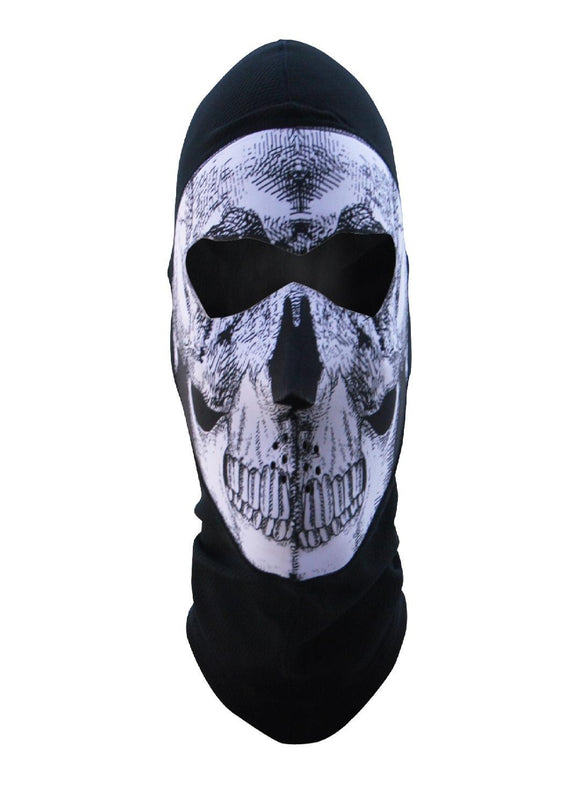 ZANheadgear Balaclava Extrm COOLMAX Full Mask B And W Skull