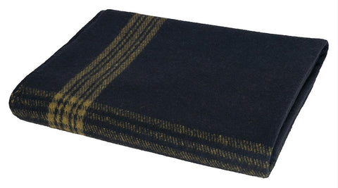 Rothco Navy With Gold Stripe Wool Blanket