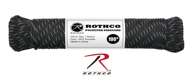 Rothco Polyester Paracord - Black w-Reflective Tracers