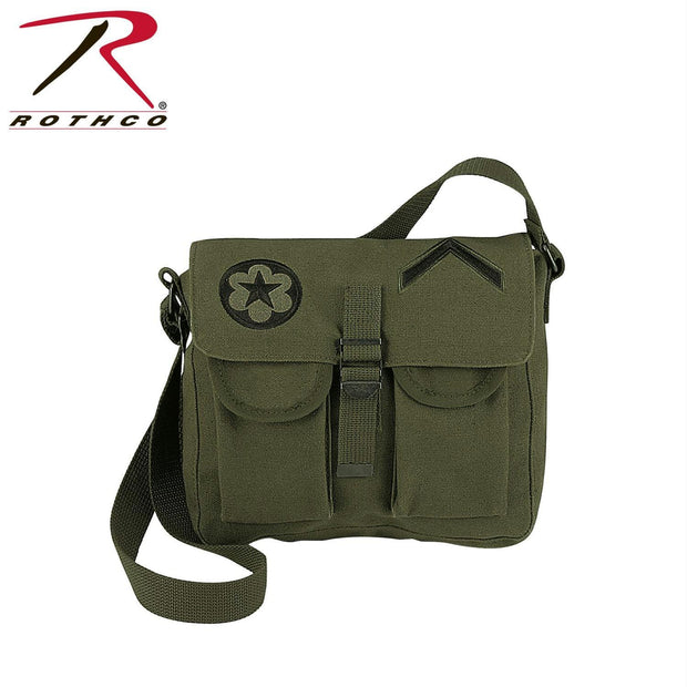 Rothco Canvas Ammo Shoulder Bag w- Military Patches