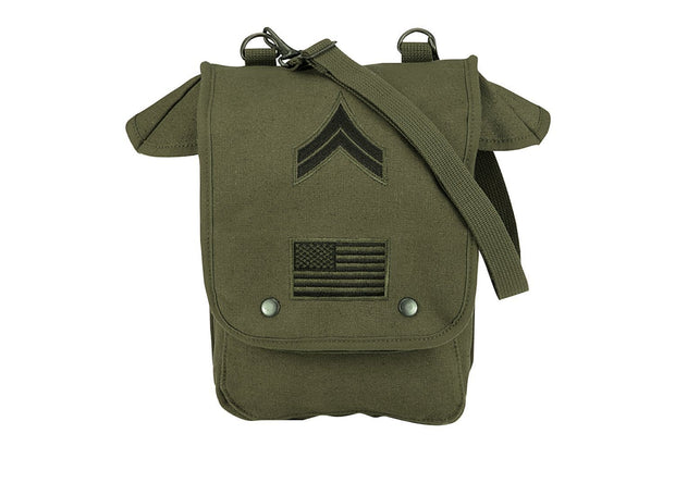 Rothco Canvas Map Case Shoulder Bag w- Military Patches