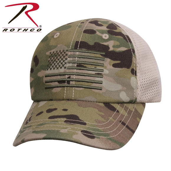 Rothco Multicam Mesh Back Tactical Cap With Embroidered US Flag