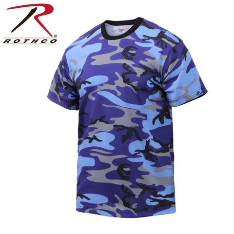 Rothco Colored Camo T-Shirts Electric Blue Camo XL