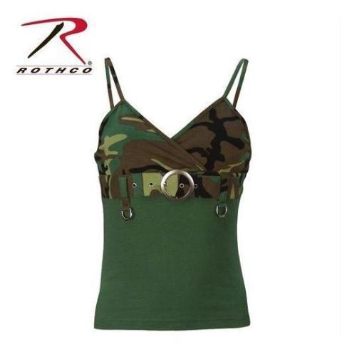 Rothco Womens 2-Tone Tank Top w/ Buckle Woodland Camo XS