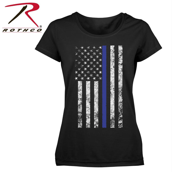 Rothco Women's Thin Blue Line Longer T-Shirt Black XS