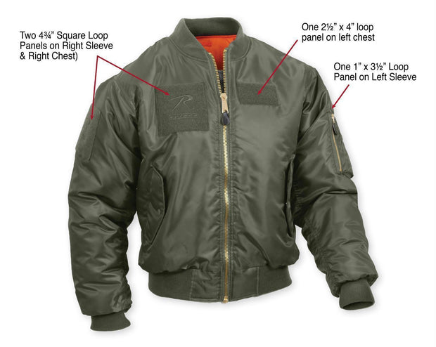 tactical and military Rothco MA-1 Flight Jacket with Patches