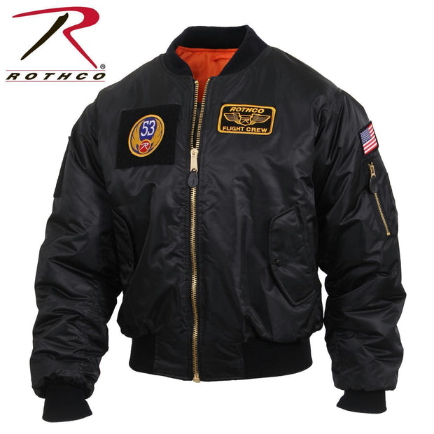 tactical and military Rothco MA-1 Flight Jacket with Patches Black 2XL